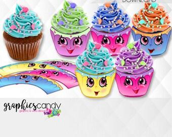 Mini Shopkins Inspired Cupcake Wrappers - Printable - DIY - Digital File - INSTANT DOWNLOAD