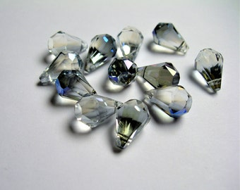 Crystal briolette  - 12 pcs - 9mmx14mm - top sideways drill - Faceted teardrop crystal  beads - Glacier grey blue ab - CBC3