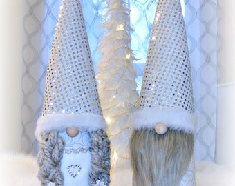 Christmas Holiday Silver Gnomes, Tomte, Nisse, Nordic Gnomes