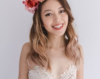 festive spring flower crown // spring racing flower headpiece / spring carnival headpiece / spring races flower fascinator / flower headband