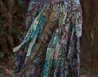 Turquoise and Brown Gypsy Scarf Skirt, Wrap Skirt, Boho Skirt, Long Hippie Skirt,Festival Belt,Burning Man Costume,Pirate Wrench,Curvy Girl