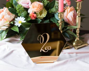 Wedding Table Numbers, Hexagon Signs for Wedding Party Decor, Wood or Gold Acrylic Number or Numerals Geometric Centerpiece (Item - HEN200)