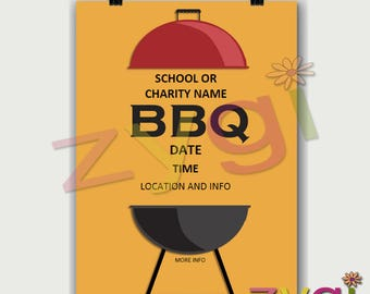 Printable Charity or PTA poster-barbeque BBQ fund raiser- Editable and Printable- you print and edit- INSTANT Download