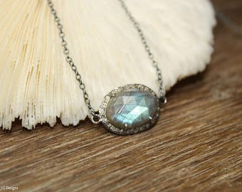 Labradorite Diamond Necklace, Labradorite Stones, Oxidized Sterling Silver Chain, Blue Flash , Genuine Diamonds,