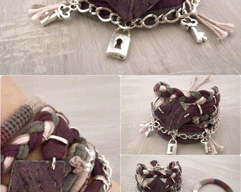 Grape Purple Boho Bracelet Set, Gypsy Bracelet Marsala Gray Pink Bohemian Jewelry, Hippie Bracelet Padlock Key Charm
