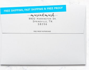 Address Stamp -  Modern Calligraphy Return Address Stamp featuring the Couple's First Names Self-inking or mounted with a handle. (20493)