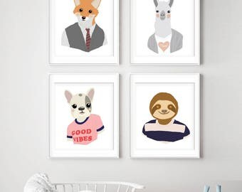 Human Nature Animal Heads Series - Set of 4 - Art Print (Featured in Assorted Colors) Fox, Llama, French Bulldog, Sloth