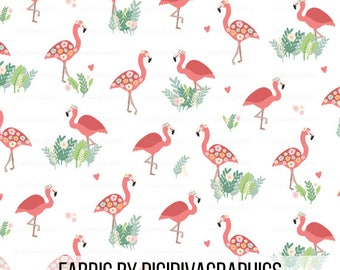 Flamingo Floral By The Yard - Whimsical Summer Pink Flamingos and Flowers Print in Yards & Fat Quarter