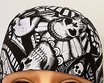 Skull Cap, Chemo Cap, Handmade, Skulls, Shapes, Hair Loss, Head Wrap, Helmet Liner, Motorcycle, Do Rag, Hats, Alopecia, Head Wear, Surgical
