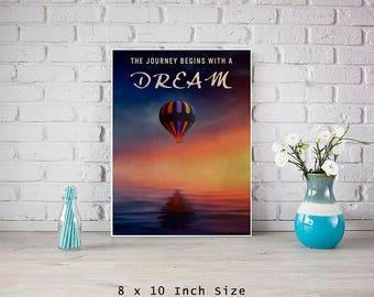 Hot Air Balloon Art 8x10 Print Size Small Poster Nursery Art Inspirational Poster Art for Boys Girls Room