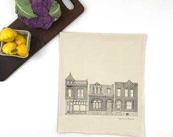 St. Louis City Flour Sack Towel - Deluxe Natural Tea Towel - Hand Screen Printed - City tea towel - brick houses