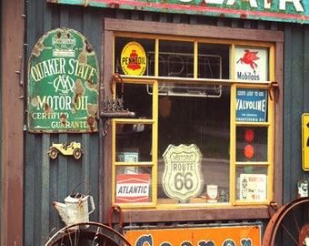 Vintage Garage Art Print, Old Gas Station Sign Photograph, Sinclair Quaker Oil Photo, Americana Rustic Decor