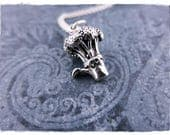 Silver Broccoli Necklace - Sterling Silver Broccoli Charm on a Delicate Sterling Silver Cable Chain or Charm Only