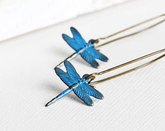 Small Blue Patina Dragonfly Earrings on Antiqued Brass Hooks (Hand Patina)