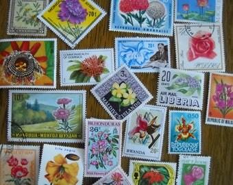 20 Vintage FLOWER Postage Stamps for crafting collage altered art journals scrapbooks philately commemorative stamps 9e