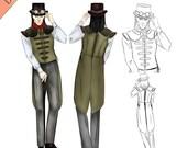 Steampunk Sewing Pattern, Mens Tailcoat Vest Pattern, Instant Download Pattern, Waistcoat Sewing Pattern, PDF Pattern, Cosplay, Larp