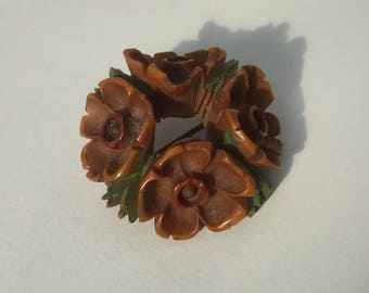 Carved vintage posey wreath flower brooch antique - painted bone or resin?