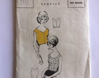The People Pattern Service - size 38 vintage 1960s blouse pattern unused and uncut - two styles
