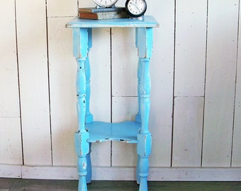 Shabby Light Blue Side Table, Nightstand, Telephone Table, Plant Stand, End  Table