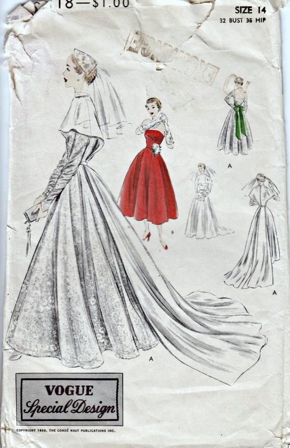 50er Jahre Brautkleid Muster Vogue S-4118 Vogue spezielles