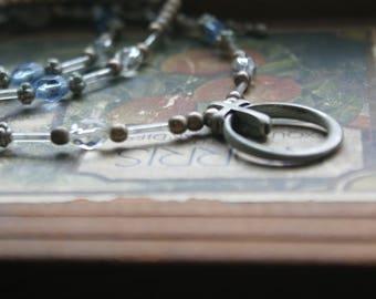 "Vintage Handmade Gothic Pewter Silver Glass 24"" Cross Necklace Eyeglass Holder"