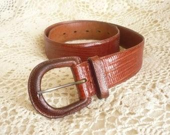 Polo RALPH LAUREN Genuine Lizard Skin Brown Bohemian Waist Belt Size XS / S/ M
