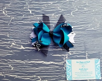 Jade Soccer Boutique Bow, Turquoise Boutique Bow, Soccer Boutique Bow, Soccer Bow