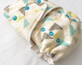 ORGANIC One Size Fitted Hybrid Cloth Diaper Modern Triangles Gender Neutral