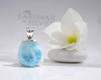Larimar pendant by Larimarandsilver, Mermaid Talisman 2 - aqua Larimar drop turtleback crystal blue pendant clear water little siren pendant