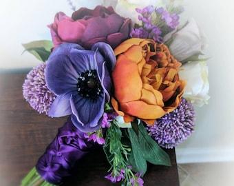 Fall Bridal Bouquet - Purple Orange Bouquet - Peony Bouquet - English Rose - Eggplant Purple - Lavender Purple - Blush Pink - Cream Roses