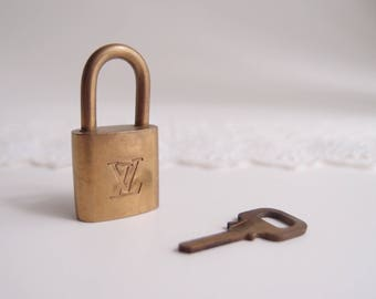 1970s Louis Vuitton Lock & Key solid brass made in France