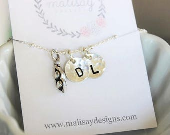 pea pod initial necklace