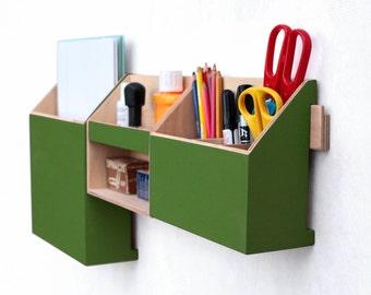 Wall Organizer Green, Mail organizer,Green Wall Paper organizer, Modern pen holder, Office Mail Storage set, Green decor,  Back to school
