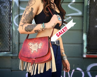 Sale* Handmade Tooled Rose Leather Fringe Bag *Sale* Sale*