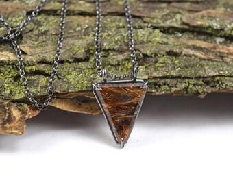 Dark Rutilated Quartz Necklace - Basket Set Pendant - Oxidized Sterling Silver - Rutile Jewelry - Rutilated Quartz Jewelry - Rutile Necklace