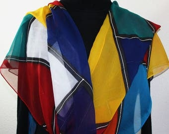 Blue, Red, Yellow, White Hand Painted Chiffon Silk Scarf COLOR PARTY, in Several SIZES. Silk Scarves Colorado. Handmade Birthday Gift