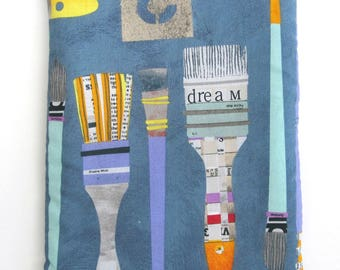 BOOK SLEEVE- Dream Paintbrushes - Book Pouch, Book Protector