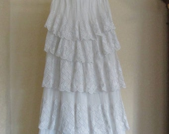 Vintage Antique Fancy Lace Tiered Flounced White Cotton Petticoat--Small