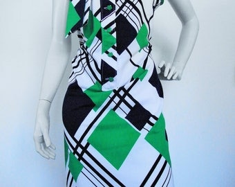 Vintage 60s dress with geometric print and neck tie