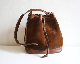 Suede Leather 70s Bucket Bag