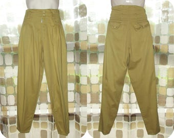 Vintage 80s High Waist Pants | AC Slater | Pleated Front Khaki Pants | 1980s New Wave | Parachute Pants | Tapered Legs | Mens 30 x 32