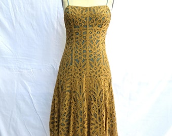 Vintage 1990's/Betsey Johnson/Battenburg Lace Sun Dress/Caramel Lace and Blue Lining Spagetti Strap Dress