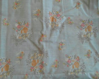 "Blue Floral Fabric Large Piece Cotton Polyester Blend 2 Yards X 27"" X1129"
