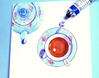 Teacup from above. For a tealover. Original watercolour