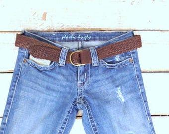 Vintage Ralph Lauren brown woven braided leather cinch belt/brown leather statement boho belt