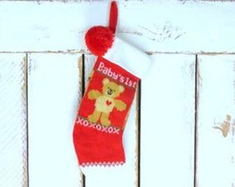Vintage Babys First Christmas woven knit Christmas teddy bear stocking/Hallmark 1985/slouchy xmas sock/teddy bear stocking/ retro xmas sock