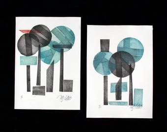linocut, Blue Forest, abstract art, turquoise, black, modern art, print, set of prints, diptych, contemporary prints, charcoal, grey, red