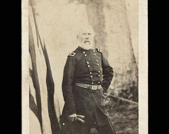 Rare CDV Photo Civil War General Sumner at Quarters - Brady Album Gallery 1860s
