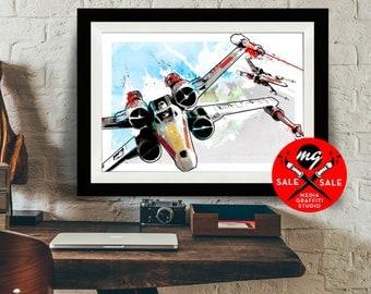 """Star Wars Art - SALE! 18""""X24"""" X-wing Fighters Star Wars Poster, Art Print, Star Wars Print, X-Wing Fighter print, fan art, Star Wars Gift"""