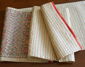 Multi Colour on Natural Hand Painted Madhubani Silk Table Runner, Hand Painted Silk Table Runner , Colourful Decor , Luxury Table Linen